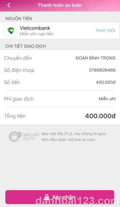 Hướng dẫn gửi tiền tại HappyLuke bằng ví điện tử Momo